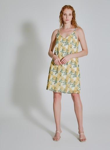 People By Fabrika Desenli Askılı Elbise Sarı